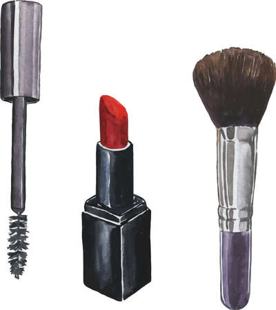 Set of cosmetics drawn by watercolor, hand drawing illustration 일러스트
