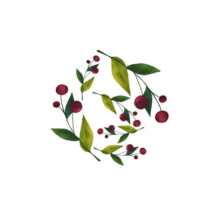 Circle of branches with berries and leaves on white background. Hand drawn watercolor illustration.