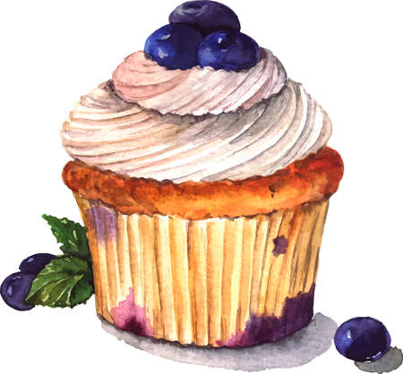 Vanilla cake with blueberry and vanilla cream and leaves of fresh mint. Hand drawn watercolor illustration.