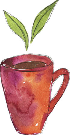 Cup of tea with green tea leaves drawn by watercolor and ink. Hand drawn illustration. Ilustração