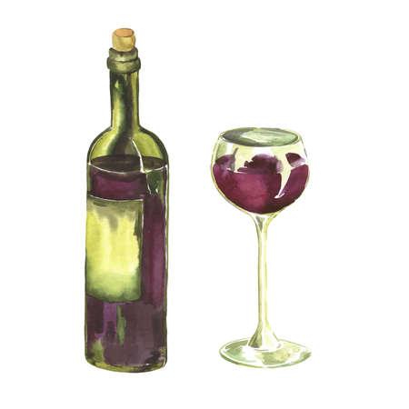 Set of glass and bottle of red wine on white background. Hand drawn watercolor illustration. Ilustração
