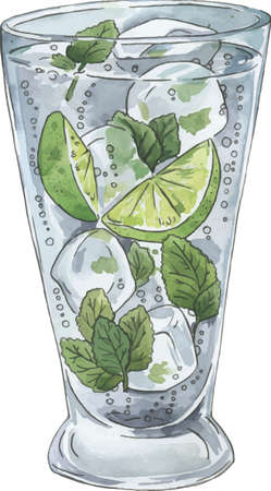 Mojito cocktail sketch drawn by watercolor and ink. Hand drawn illustration.