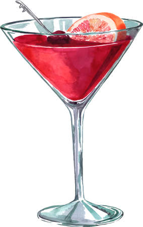 Cocktail with pink grapefruit and cherry, hand drawn vector illustration