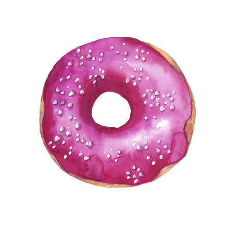 Pink glazed sweet donut painted by watercolor on white background. Hand drawn illustration.