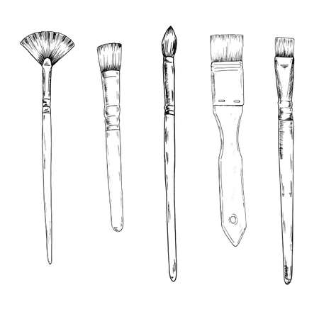 Set of art brushes. Art utensils. Sketch drawn by ink. Hand drawn vector illustration.