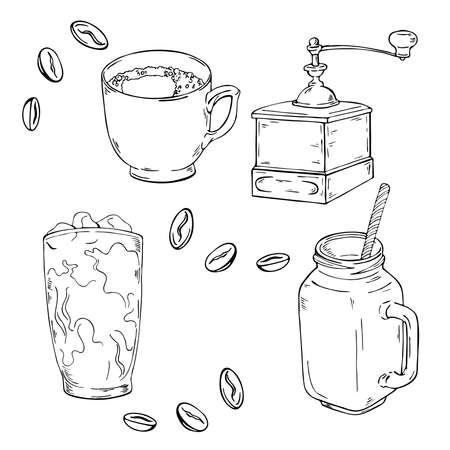 Coffee cups, glass of coffee, cocktail, grinder and spices. Hand drawn vector illustration.