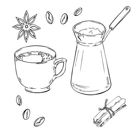 Turkish coffee and spice sketch. Hand drawn vector illustration.