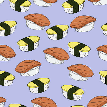 Seamless pattern with nigiri sushi on pastel lilac background. Hand drawn vector illustration.