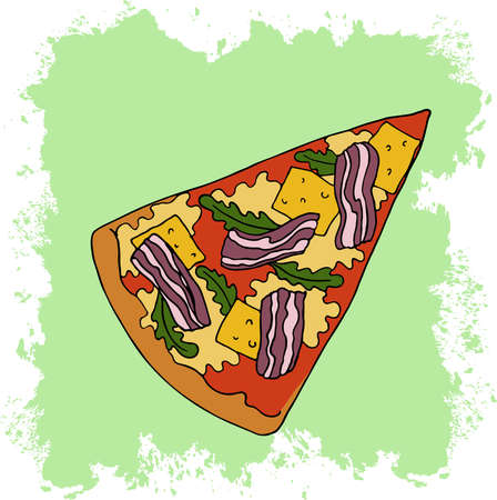 Slice of pizza with cheese. bacon and arugula on abstract pastel green background. Cartoon sketch drawn by ink. Hand drawn vector illustration.