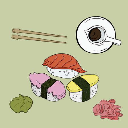 Set of nigiri sushi with salmon, octopus and herring. Soy sauce, vasabi, ginger, chopsticks on pastel gray background. Hand drawn vector illustration. Ilustração