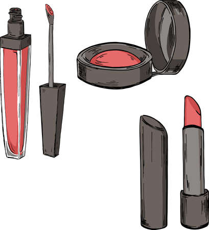 Set of makeup products, lip gloss, lipstick and blush. cartoon sketch drawn by ink. Hand drawn vector illustration.