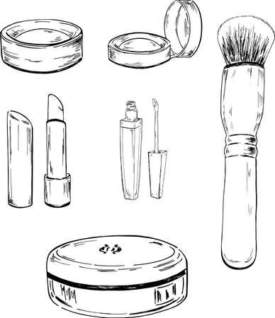 Insieme di elementi di trucco su sfondo bianco. Illustrazione vettoriale disegnato a mano.
