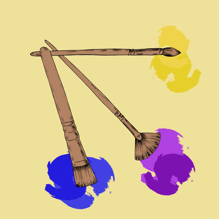 Set of tools and materials. Brushes with bright paint stains. Cartoon sketch drawn by ink. Hand drawn vector illustration.