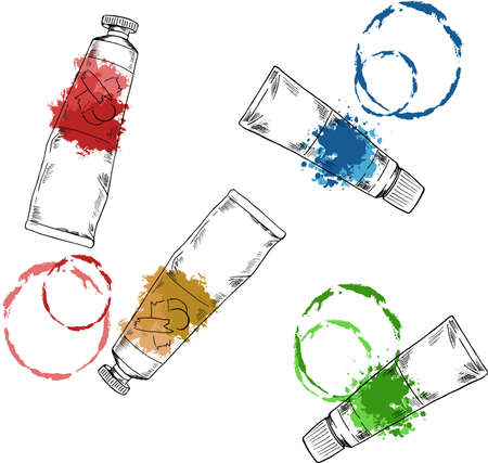 Set of art materials. Tubes with paint stains.Cartoon sketch drawn by ink. Hand drawn vector illustration. 일러스트