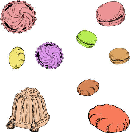 Set of pastel color desserts. Cookies, biscuits, macaroon, jelly. Cartoon sketches drawn by ink. Hand drawn vector illustration.