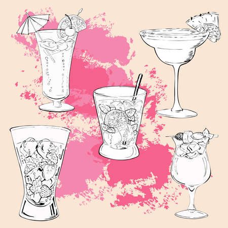 Set of summer cocktails on pastel pink background with pink brushstrokes. Hand drawn vector illustration.