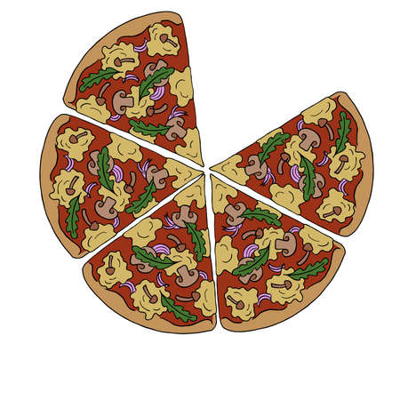 Pizza slices with mushrooms and herbs. Cartoon sketch drawn by ink. Hand drawn vector illustration. Ilustração