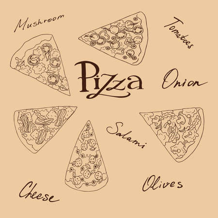 Set of pizza slices with hand lettering elements on beige background. Hand drawn vector illustration.