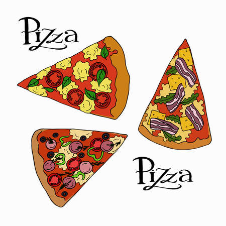 Set of pizza slices on white background with hand lettering. Hand drawn vector illustration.