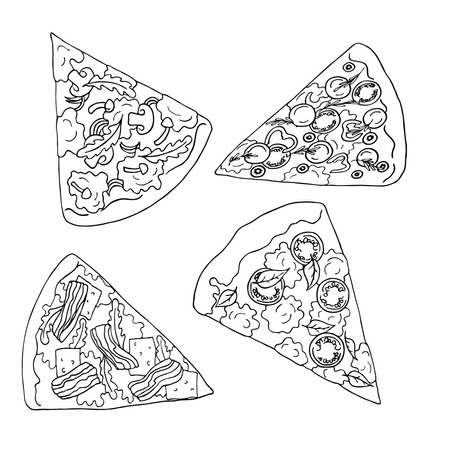 Slices of pizza on white background. Cartoon sketch drawn by ink. Hand drawn vector illustration. Banco de Imagens - 105377589