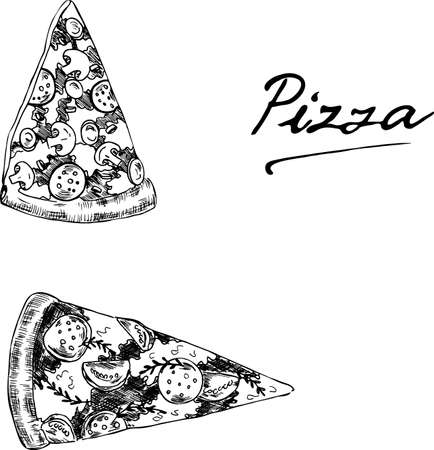 Set of pieces of pizza drawn by ink. Cartoon sketch and hand lettering drawn by ink. Hand drawn vector illustration.