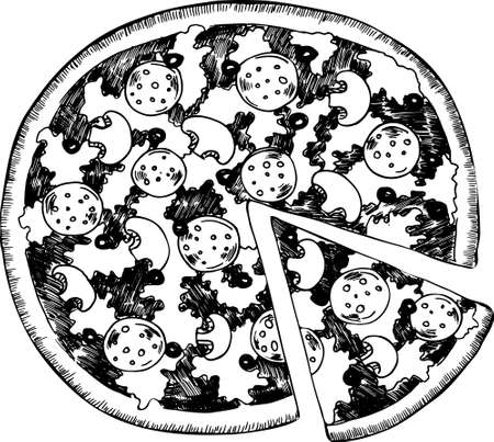 Pizza with salami, black olives and mushrooms drawn by ink. Cartoon sketch. Hand drawn vector illustration.