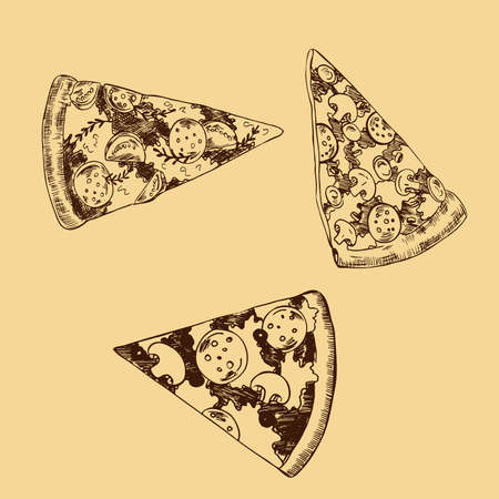 Set of pizza pieces on pastel yellow background. Hand drawn vector illustration. Banco de Imagens - 105377591