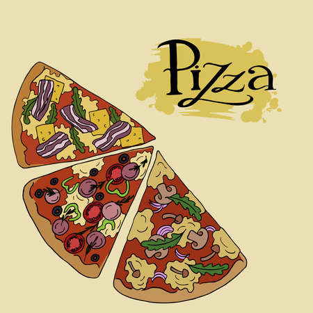 Set of pizza slices on a beige background with hand lettering. Hand drawn vector illustration.
