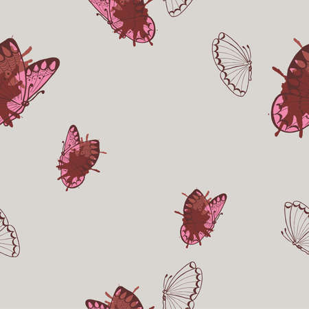 Seamless pattern with butterflies and backdrops. Hand drawn vector illustration.