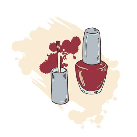Set of nail polish bottle and brush on white background with pastel beige brushstrokes. Hand drawn vector illustration.