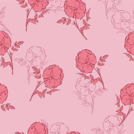 Nahtloses Blumenmuster im Vintage-Stil. Hand gezeichnete Vektorillustration.