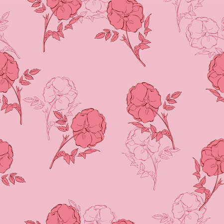 Seamless floral pattern in vintage style. Hand drawn vector illustration.