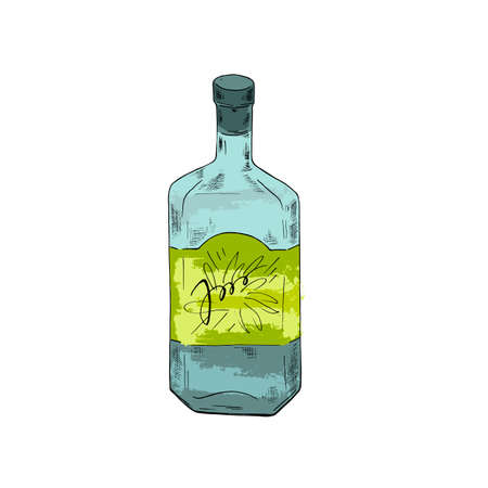 Bottle of strong drink tequila or vodka on white background. Cartoon sketch drawn by ink. Hand drawn vector illustration. Vector Illustration