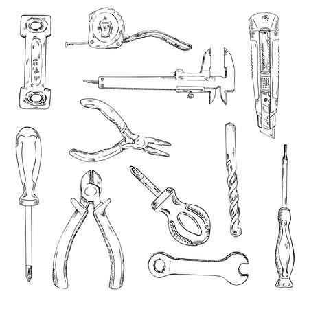 Ensemble d'outils de construction. Kit d'outils de réparation. Esquisse à l'encre. Illustration vectorielle dessinés à la main.