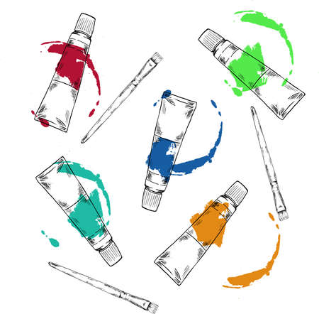 Set of art materials. Tubes with paint stains. Art brushes. Cartoon sketch drawn by ink. Hand drawn vector illustration. Stock Illustratie
