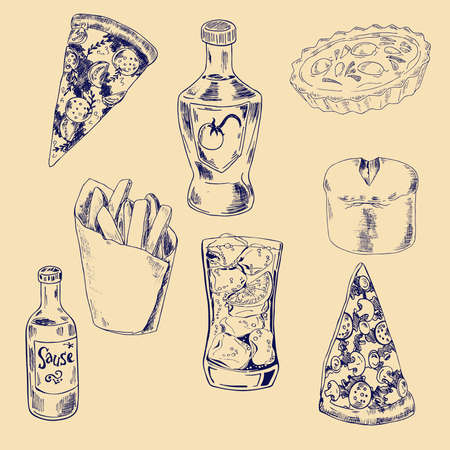 Set of pizza pieces, soda, french fries and bottles of sauce. Hand drawn illustration. Archivio Fotografico - 107319358
