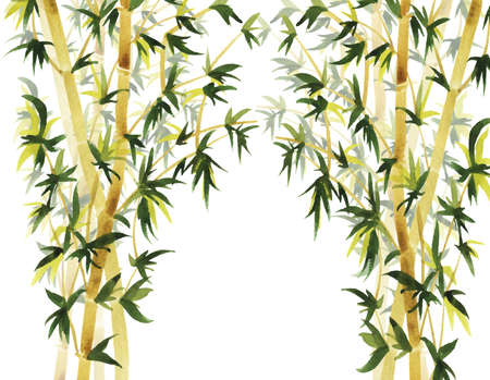 Abstract wild bamboo background. Hand drawn watercolor illustration.