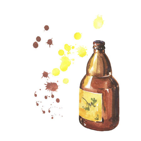 Dark beer bottle with abstract yellow and brown spots on white background. Hand drawn watercolor illustration.