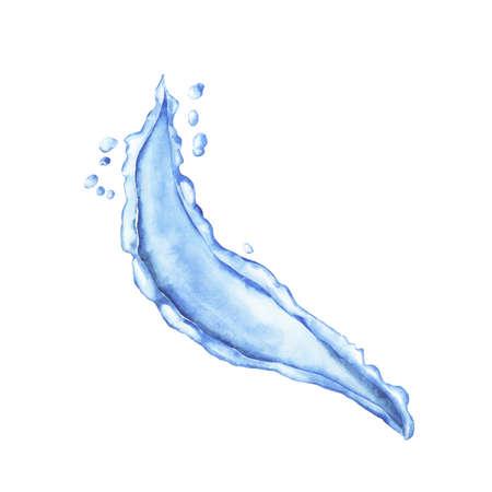 Blue water splash isolated on white background. Hand drawn watercolor vector illustration. Ilustração