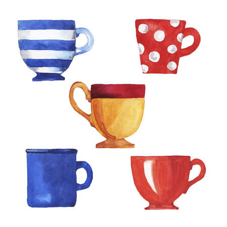 Set of teacups and mugs painted by watercolor. Hand drawn illustration.  イラスト・ベクター素材