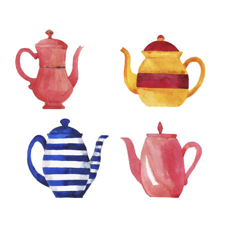 Set of teapots on white background. Hand drawn watercolor illustration.