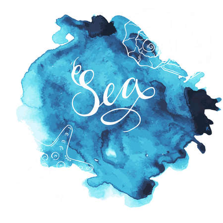 Blue spot with hand lettering and silhouette shells. Design for greeting card. Hand drawn vector illustration.