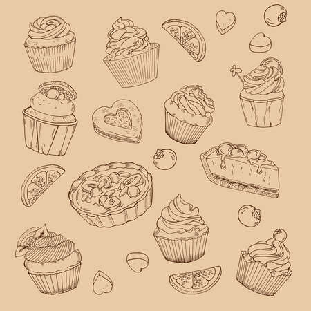 Set of cupcakes, fresh lemon slices and sugar pieces on beige background. Hand drawn vector illustration.