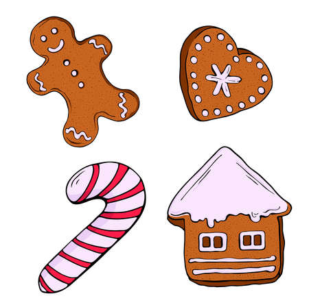 Set of christmas gingerbread cookies and candy isolated on white background. Hand drawn vector illustration.