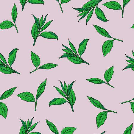 Seamless pattern with green tea leaves on pastel lilac background. Hand drawn vector illustration. Ilustração