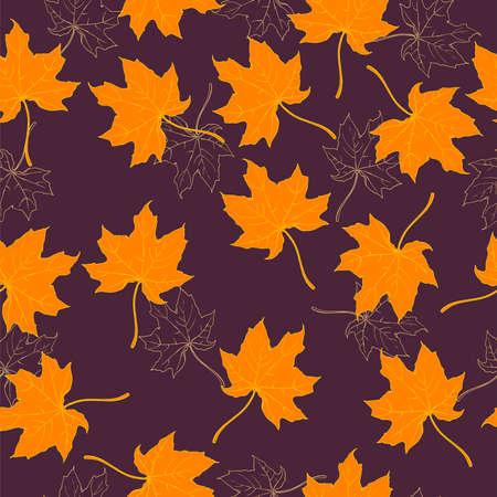 Maple leaves on dark purple background. Hand drawn vector illustration. Ilustração