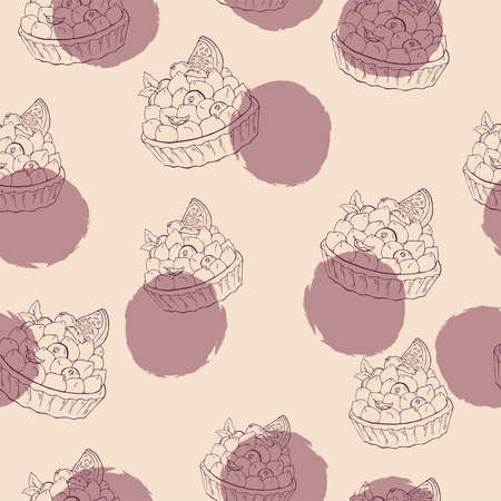 Seamless pattern with lilac backdrops on pink background. Hand drawn vector illustration. Ilustração