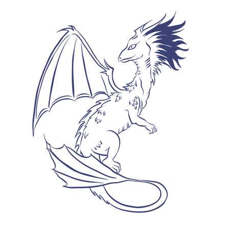 Dragon sketch. Hand drawn vector illustration. Ilustração