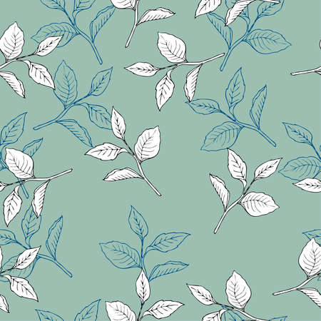 Seamless pattern with white leaves on a blue background. Hand drawn vector illustration.