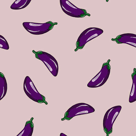 Seamless pattern with violet eggplants on pastel lilac background. Hand drawn vector illustration.